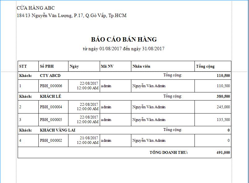BAO CAO BAN HANG THEO KHACH HANG